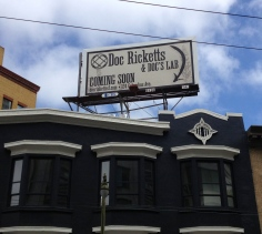 Sign appearing on Columbus street. Is Doc Ricketts coming to San Francisco?
